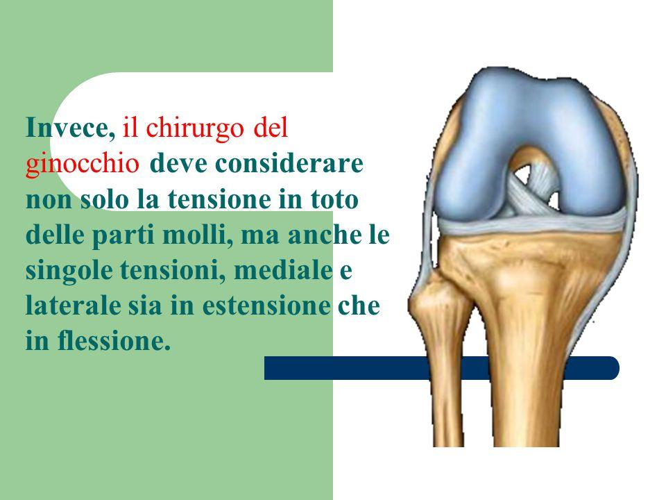 Invece, il chirurgo del ginocchio deve considerare non solo la tensione in toto delle parti molli, ma anche le singole tensioni, mediale e laterale sia in estensione che in flessione.