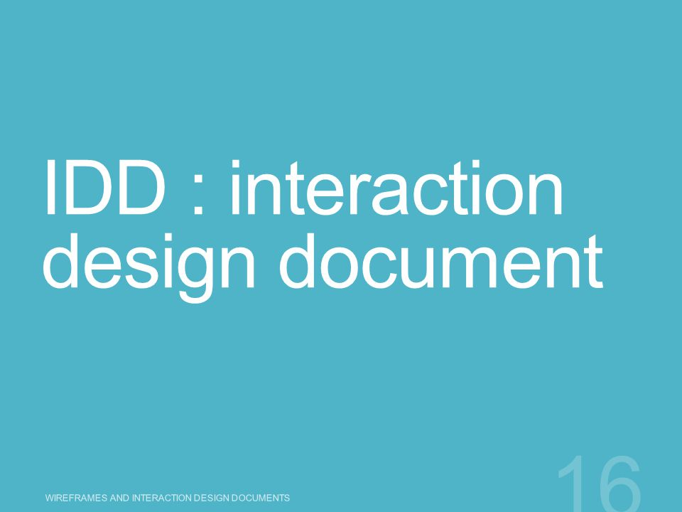 IDD : interaction design document
