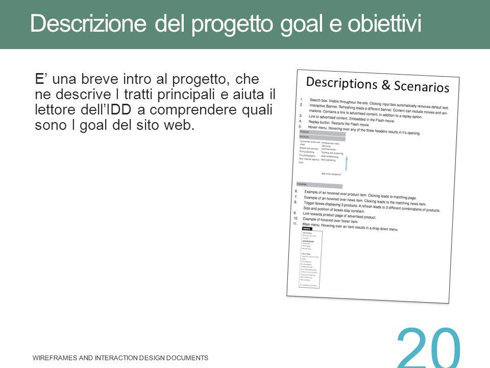 Descrizione del progetto goal e obiettivi