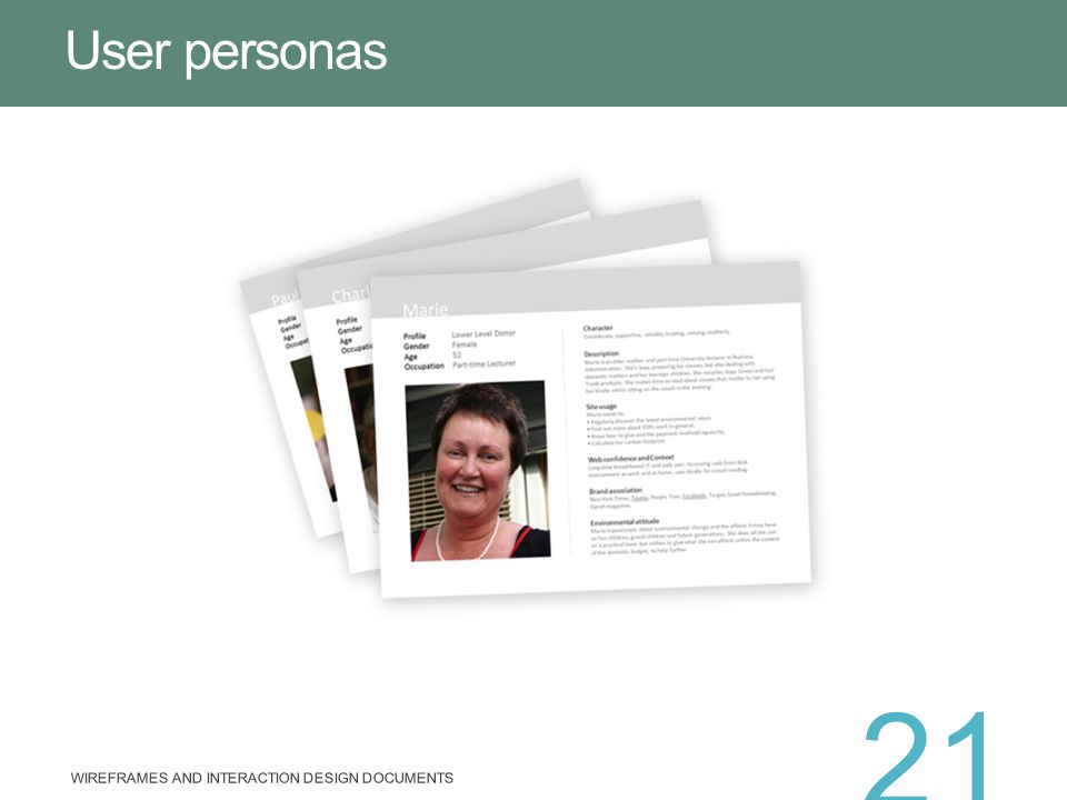 User personas Wireframes and Interaction Design Documents