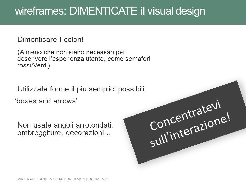 wireframes: DIMENTICATE il visual design