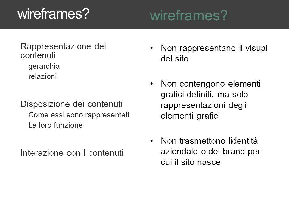 wireframes wireframes Rappresentazione dei contenuti