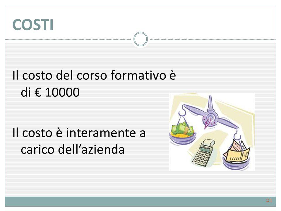 COSTI Il costo del corso formativo è di € 10000 Il costo è interamente a carico dell'azienda