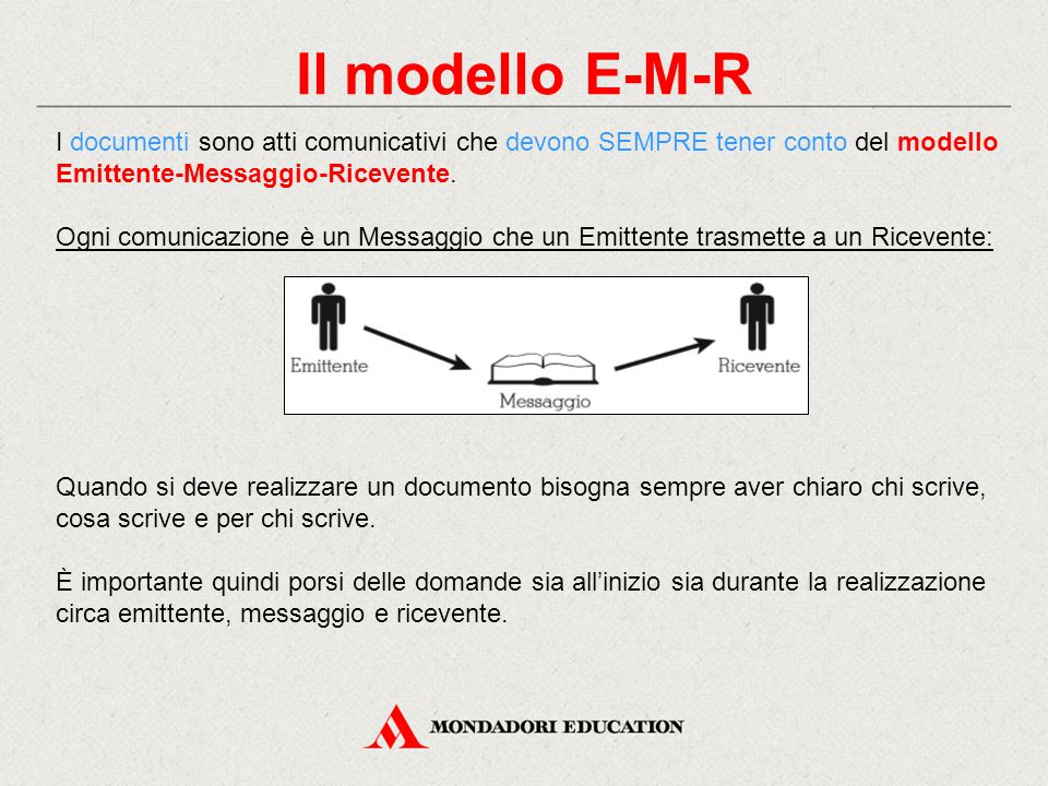 Il modello E-M-R I documenti sono atti comunicativi che devono SEMPRE tener conto del modello Emittente-Messaggio-Ricevente.