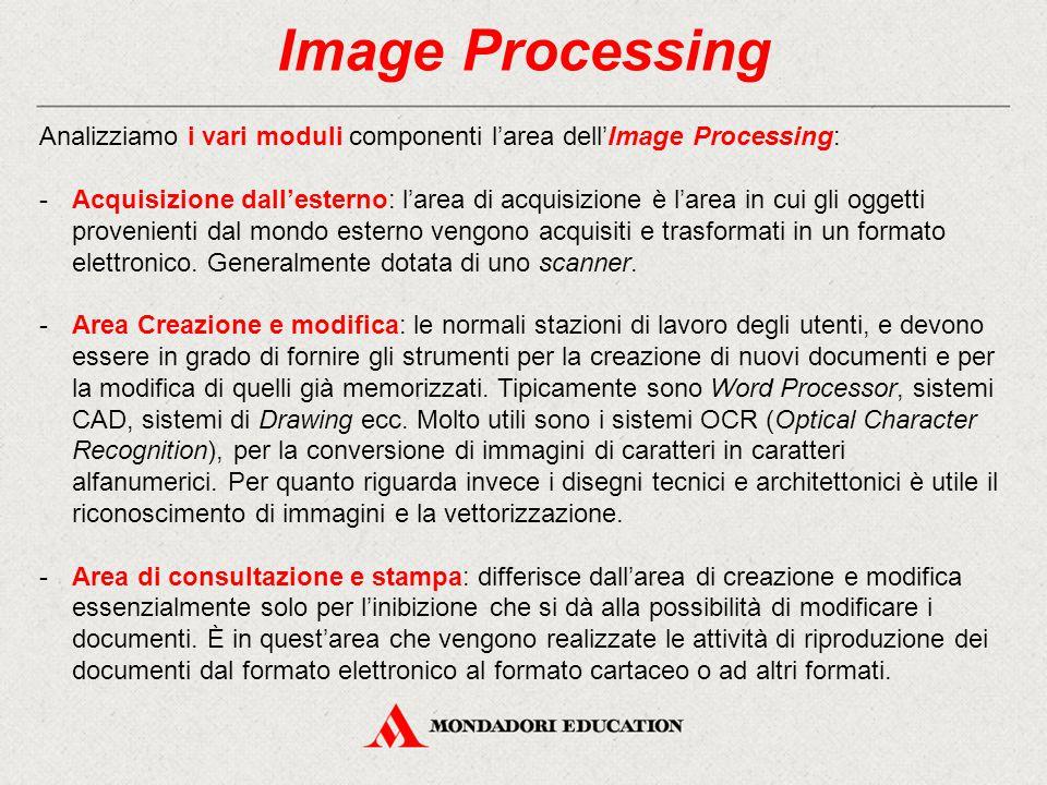 Image Processing Analizziamo i vari moduli componenti l'area dell'Image Processing: