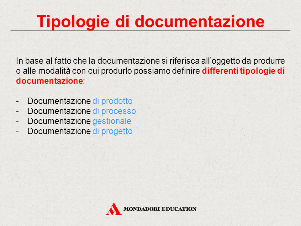 Tipologie di documentazione