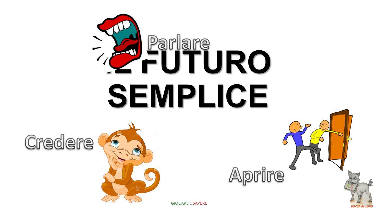 Parlare IL FUTURO SEMPLICE Credere Aprire GIOCARE E SAPERE