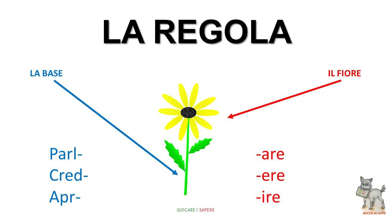 LA REGOLA Parl- Cred- Apr- -are -ere -ire LA BASE IL FIORE