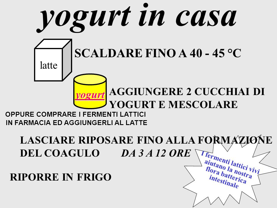 yogurt in casa SCALDARE FINO A 40 - 45 °C latte yogurt