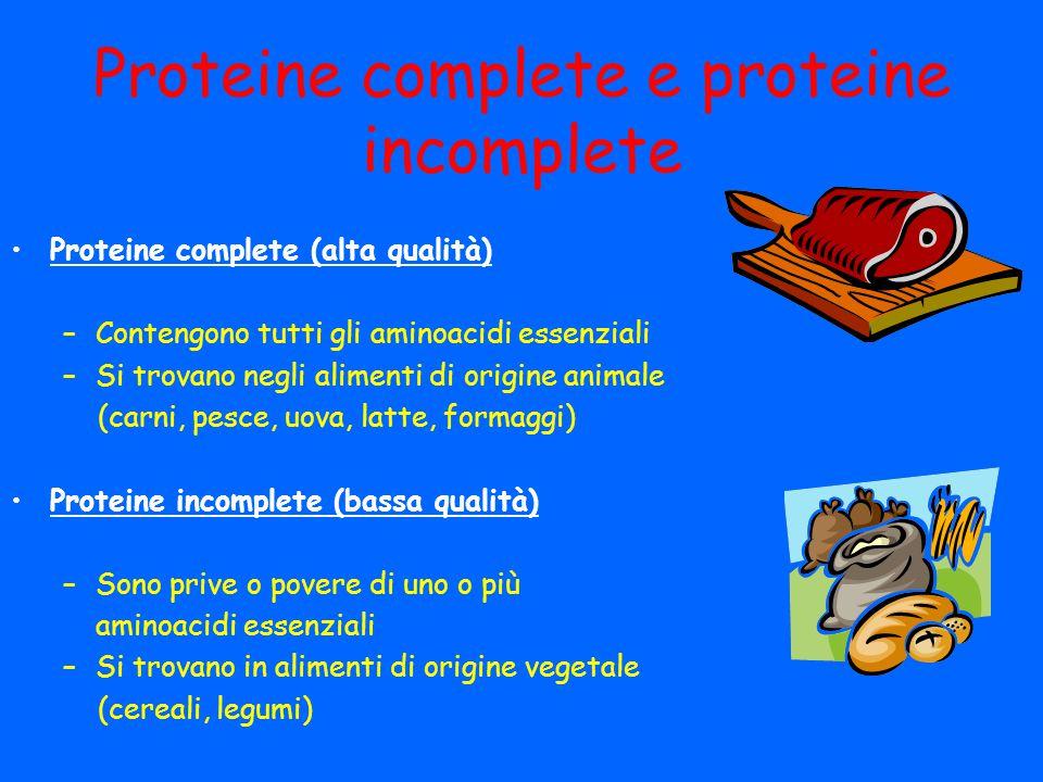 Proteine complete e proteine incomplete