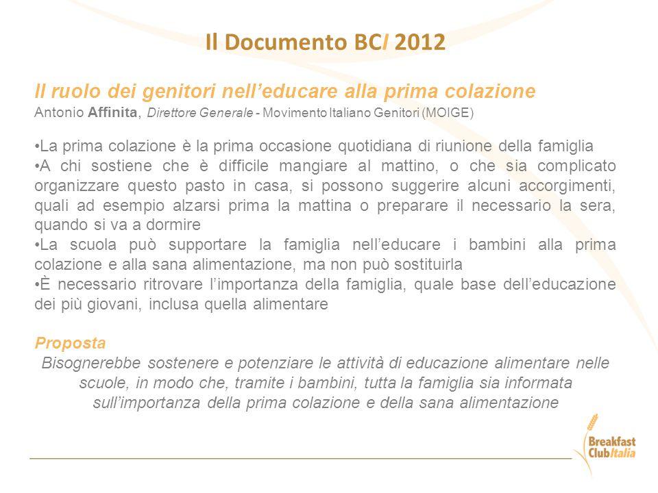 Il Documento BCI 2012 Il ruolo dei genitori nell'educare alla prima colazione.