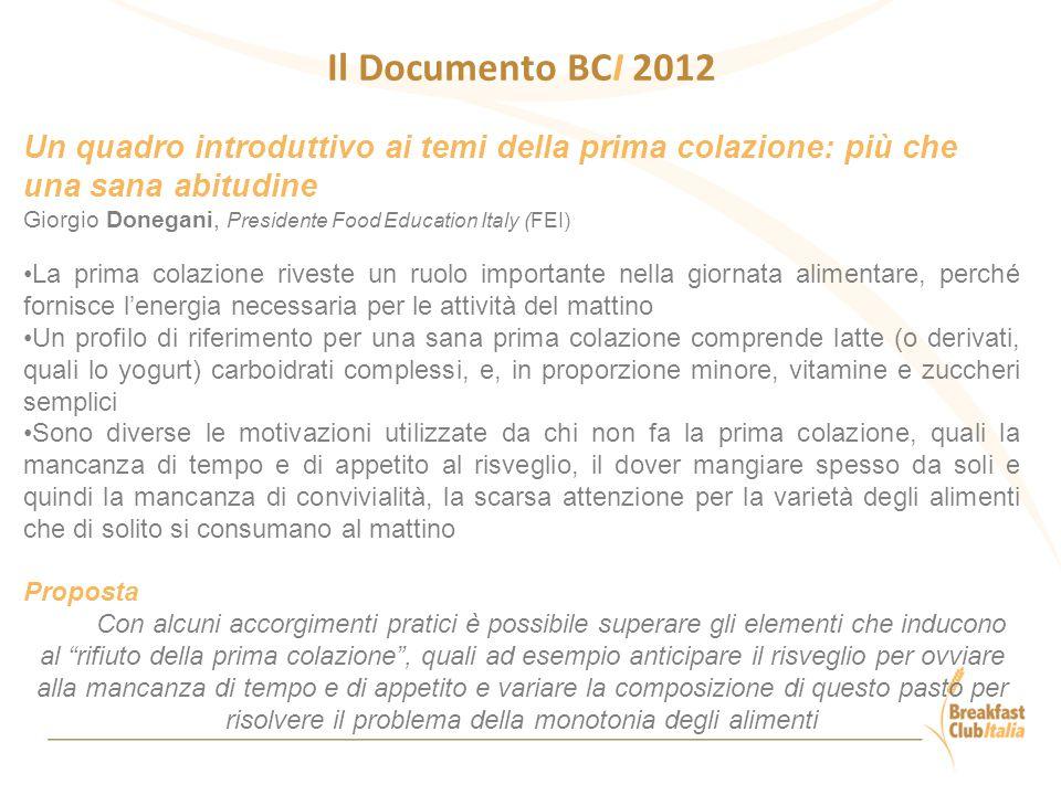 Il Documento BCI 2012 Un quadro introduttivo ai temi della prima colazione: più che una sana abitudine.
