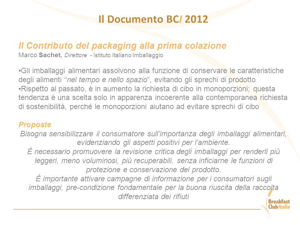 Il Documento BCI 2012 Il Contributo del packaging alla prima colazione