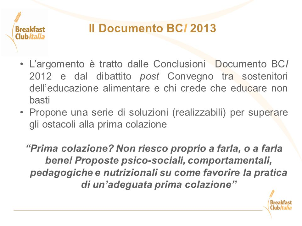 Il Documento BCI 2013