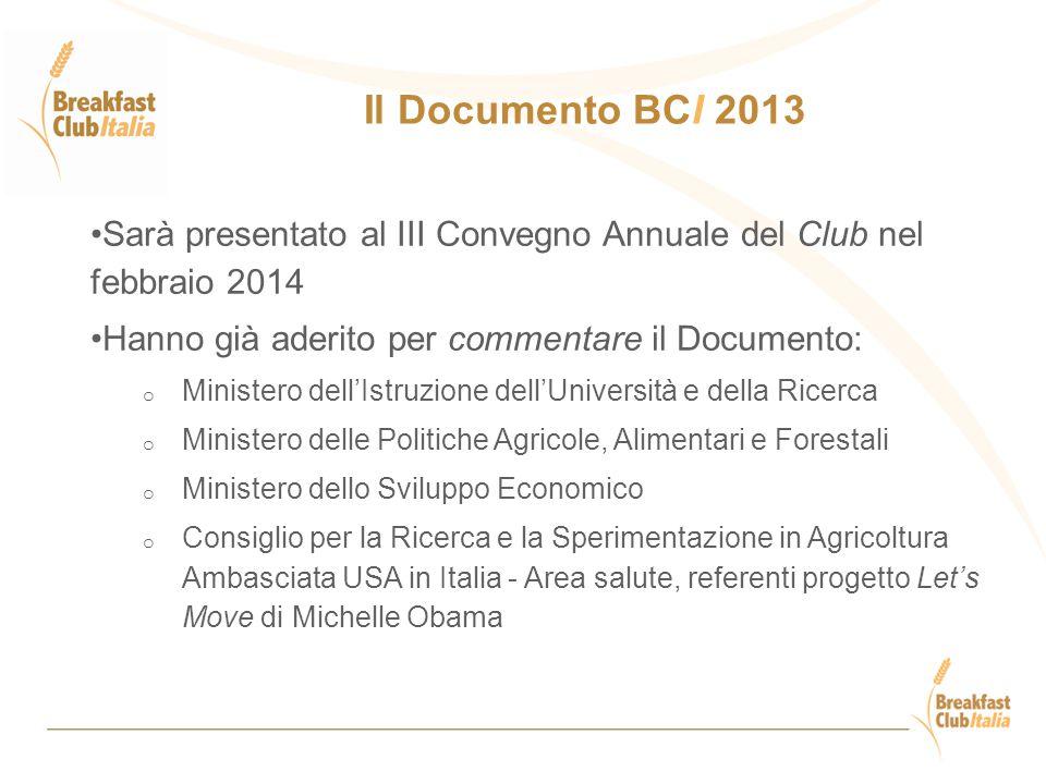 Il Documento BCI 2013 Sarà presentato al III Convegno Annuale del Club nel febbraio 2014. Hanno già aderito per commentare il Documento:
