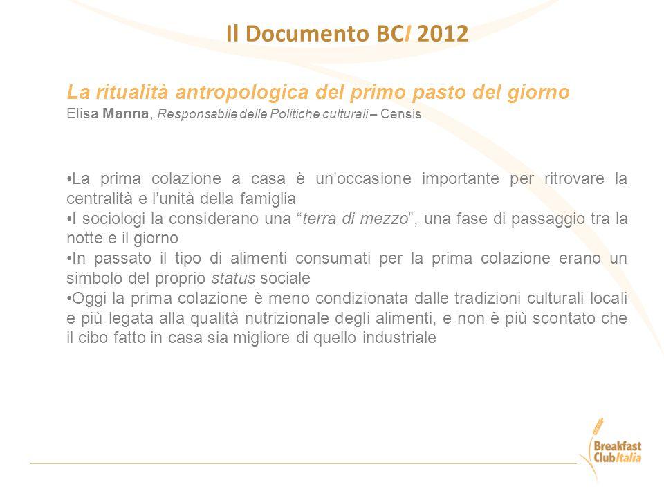 Il Documento BCI 2012 La ritualità antropologica del primo pasto del giorno. Elisa Manna, Responsabile delle Politiche culturali – Censis.