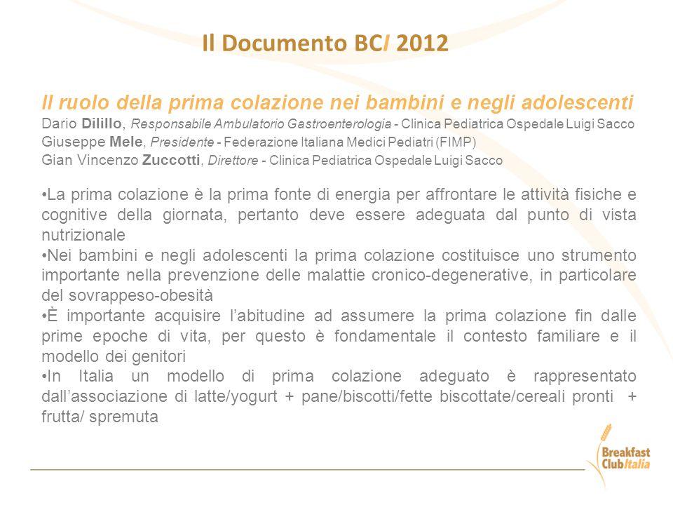 Il Documento BCI 2012 Il ruolo della prima colazione nei bambini e negli adolescenti.
