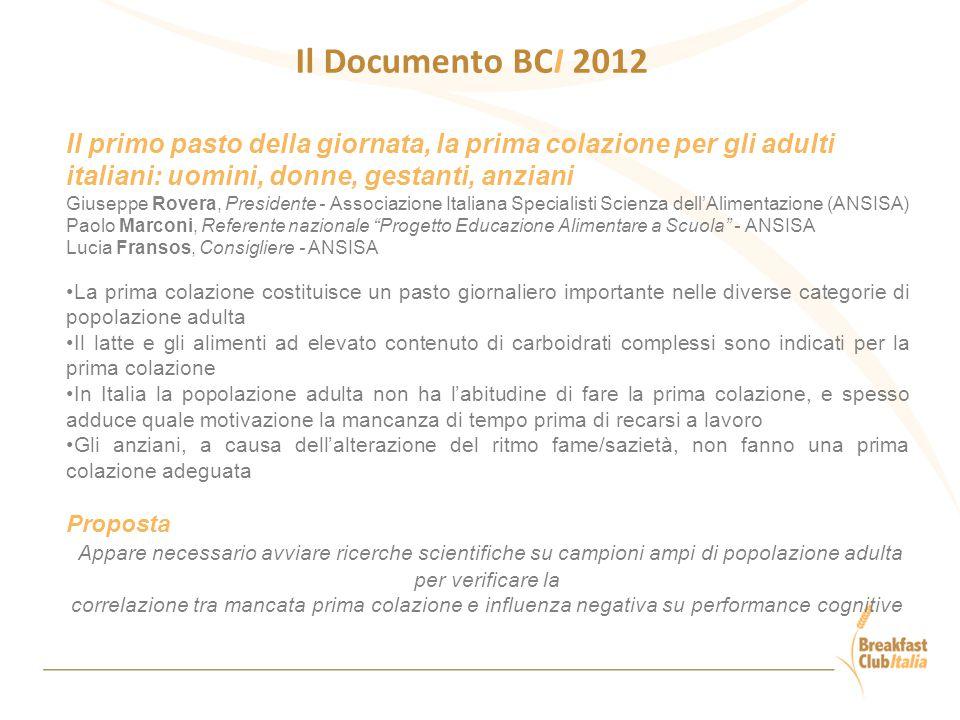 Il Documento BCI 2012 Il primo pasto della giornata, la prima colazione per gli adulti italiani: uomini, donne, gestanti, anziani.