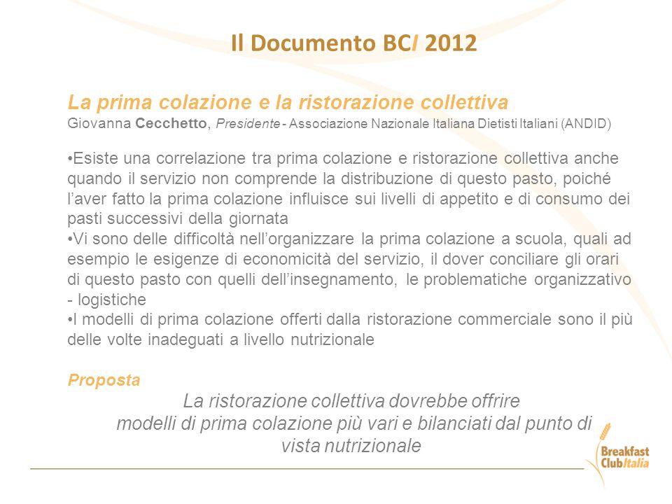 Il Documento BCI 2012 La prima colazione e la ristorazione collettiva