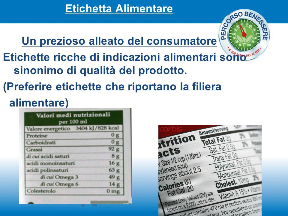 Etichetta Alimentare Un prezioso alleato del consumatore. Etichette ricche di indicazioni alimentari sono sinonimo di qualità del prodotto.