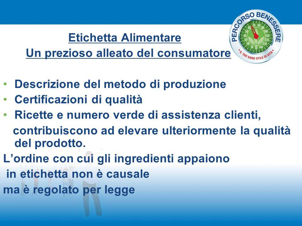 Etichetta Alimentare Un prezioso alleato del consumatore. Descrizione del metodo di produzione. Certificazioni di qualità.