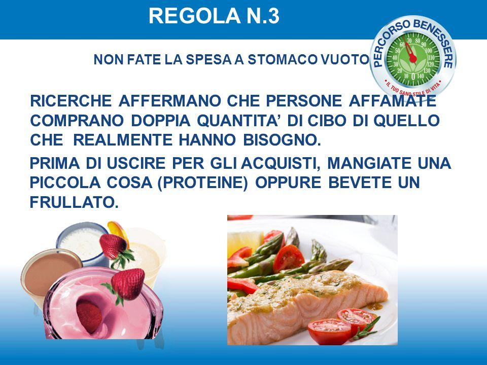 REGOLA N.3 NON FATE LA SPESA A STOMACO VUOTO.