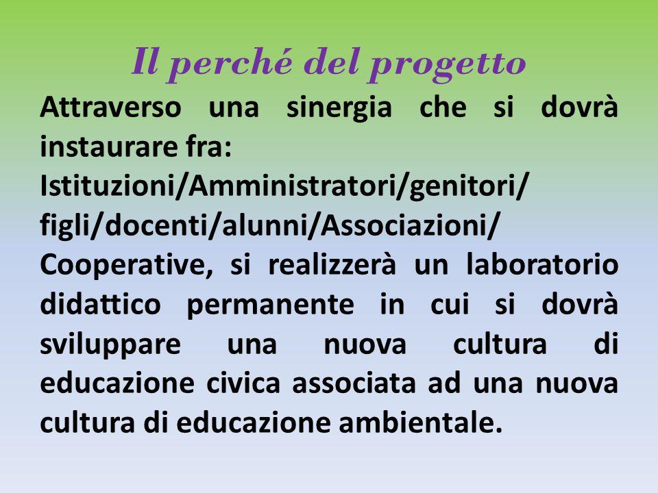 Il perché del progetto Attraverso una sinergia che si dovrà instaurare fra: Istituzioni/Amministratori/genitori/