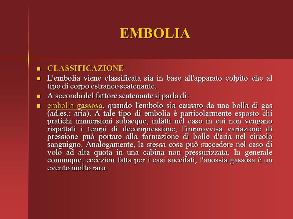 EMBOLIA CLASSIFICAZIONE