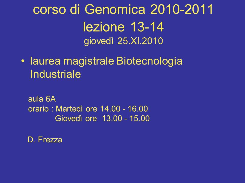 corso di Genomica 2010-2011 lezione 13-14 giovedì 25.XI.2010