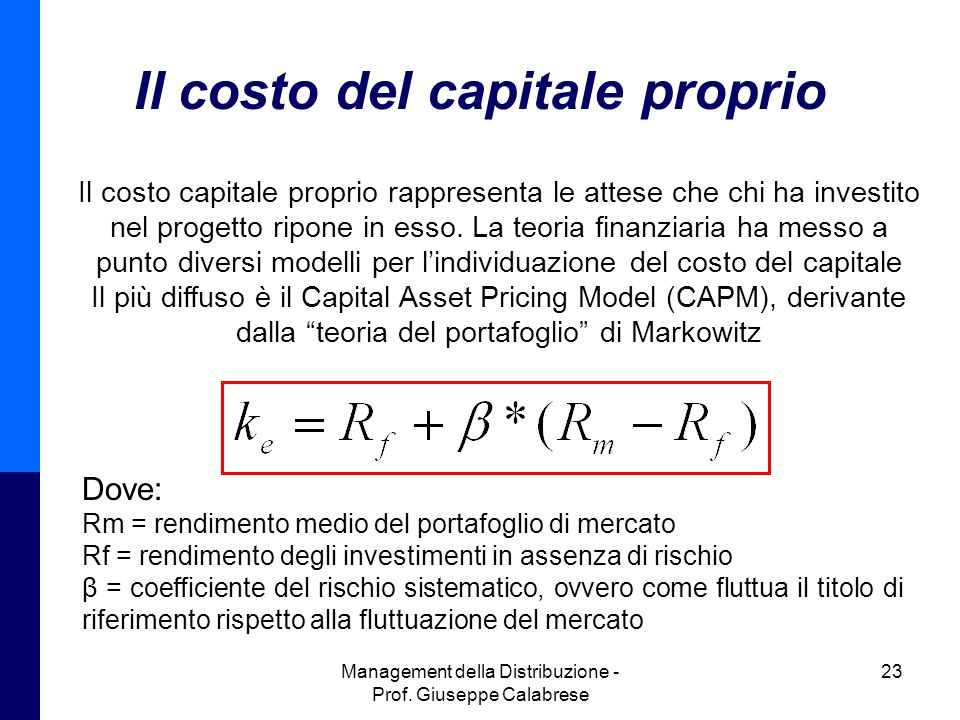 Il costo del capitale proprio