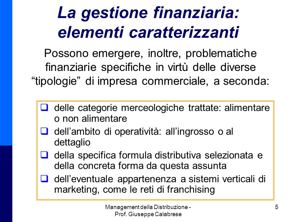 La gestione finanziaria: elementi caratterizzanti