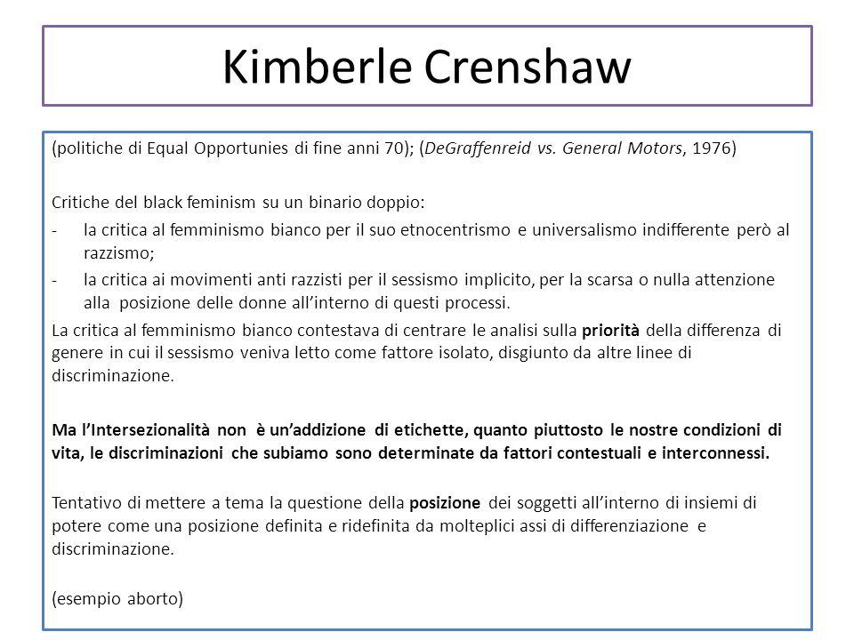 Kimberle Crenshaw (politiche di Equal Opportunies di fine anni 70); (DeGraffenreid vs. General Motors, 1976)
