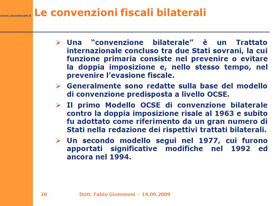 Le convenzioni fiscali bilaterali
