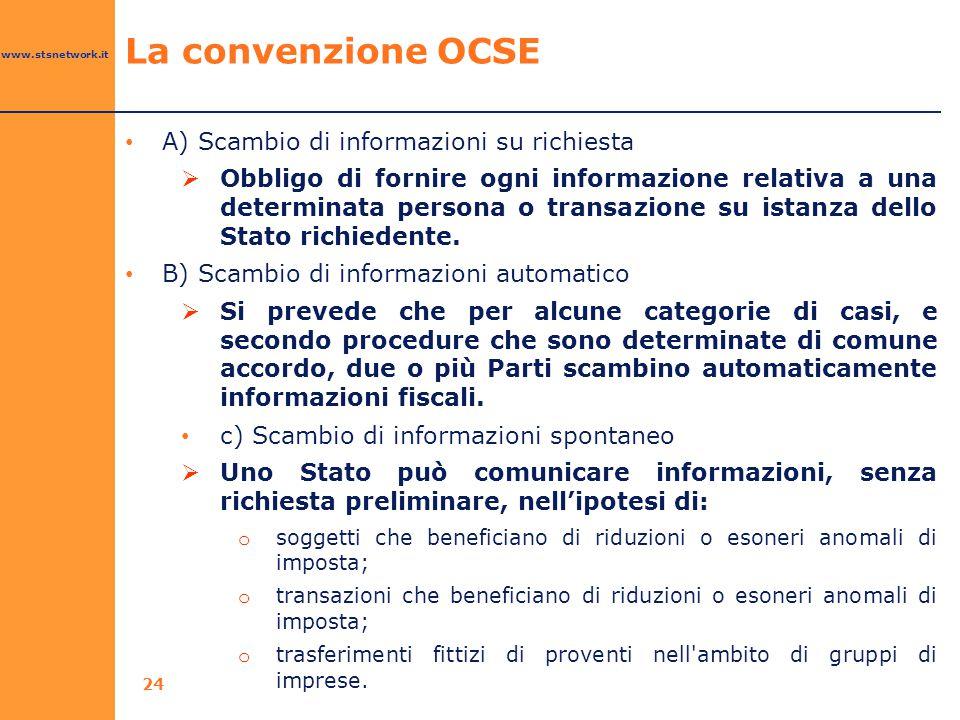 La convenzione OCSE A) Scambio di informazioni su richiesta