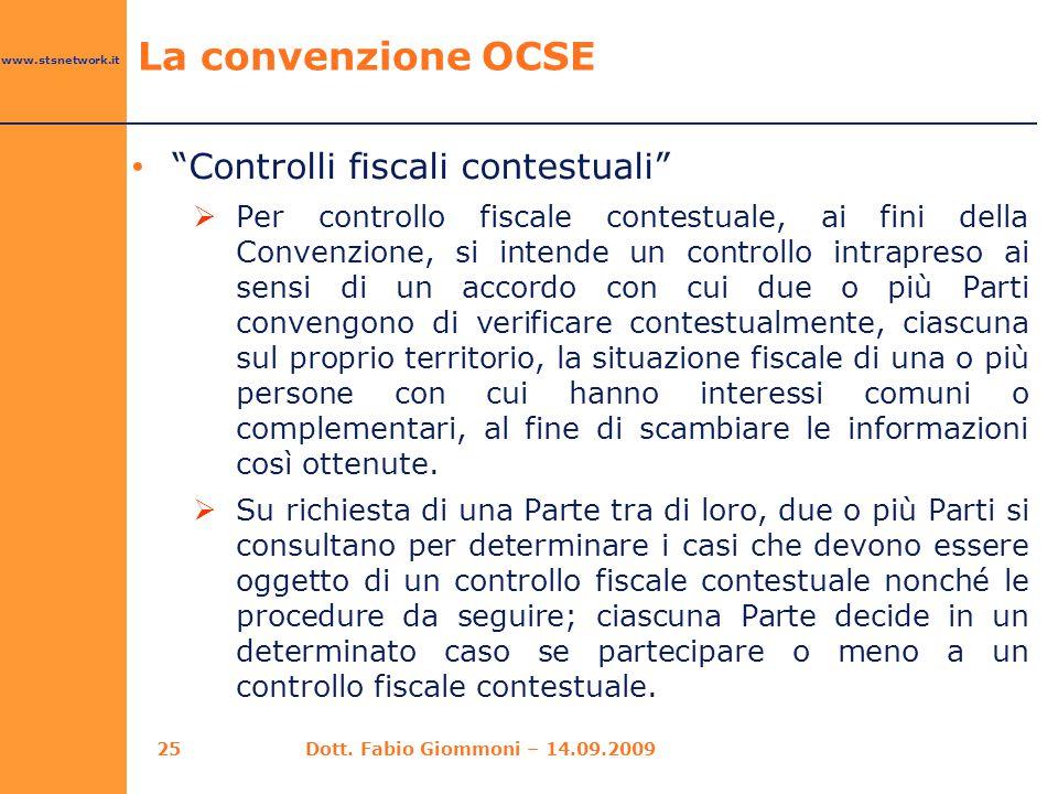 La convenzione OCSE Controlli fiscali contestuali