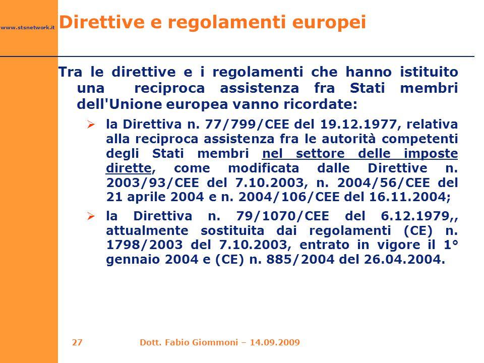 Direttive e regolamenti europei