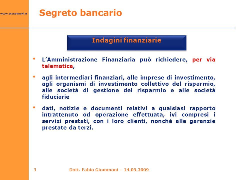 Indagini finanziarie Segreto bancario