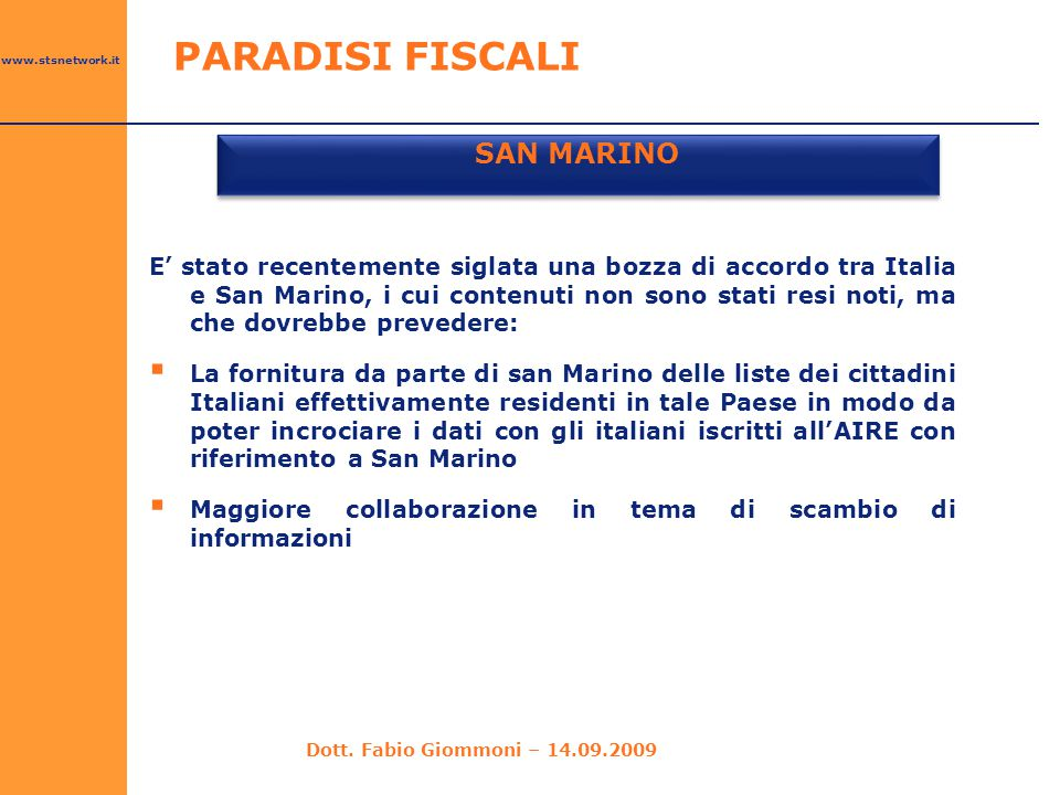 SAN MARINO PARADISI FISCALI