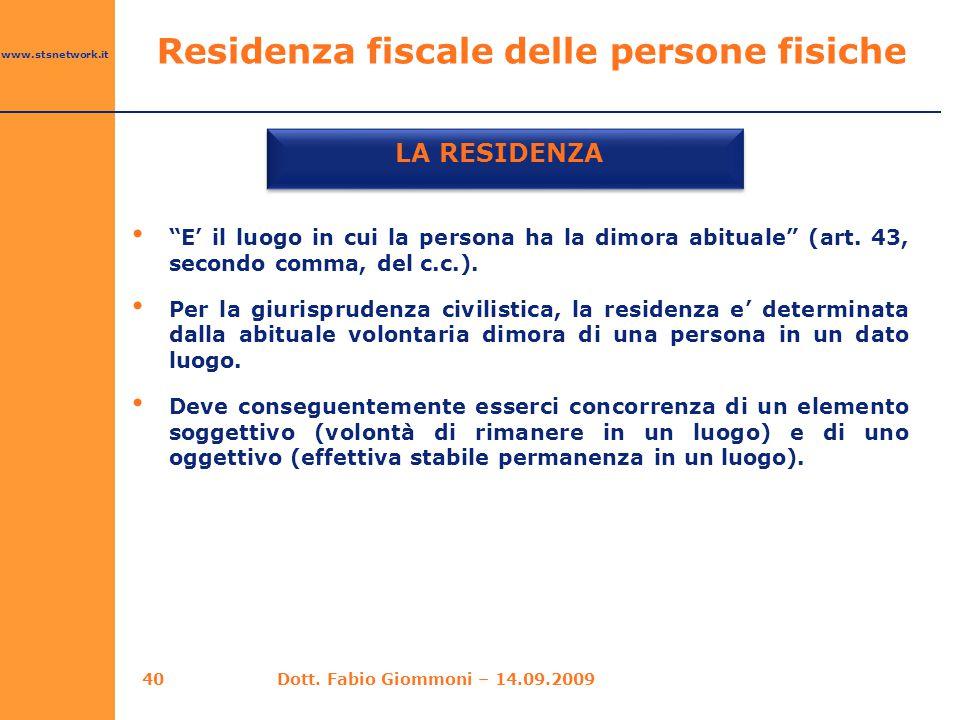 Residenza fiscale delle persone fisiche