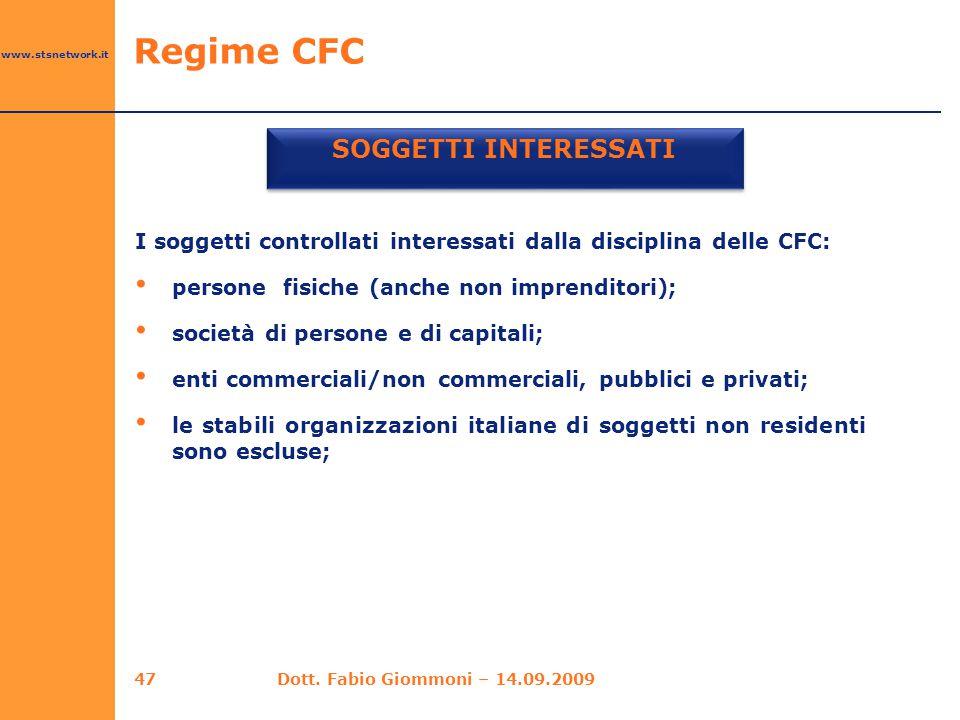SOGGETTI INTERESSATI Regime CFC