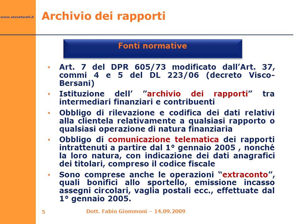 Fonti normative Archivio dei rapporti