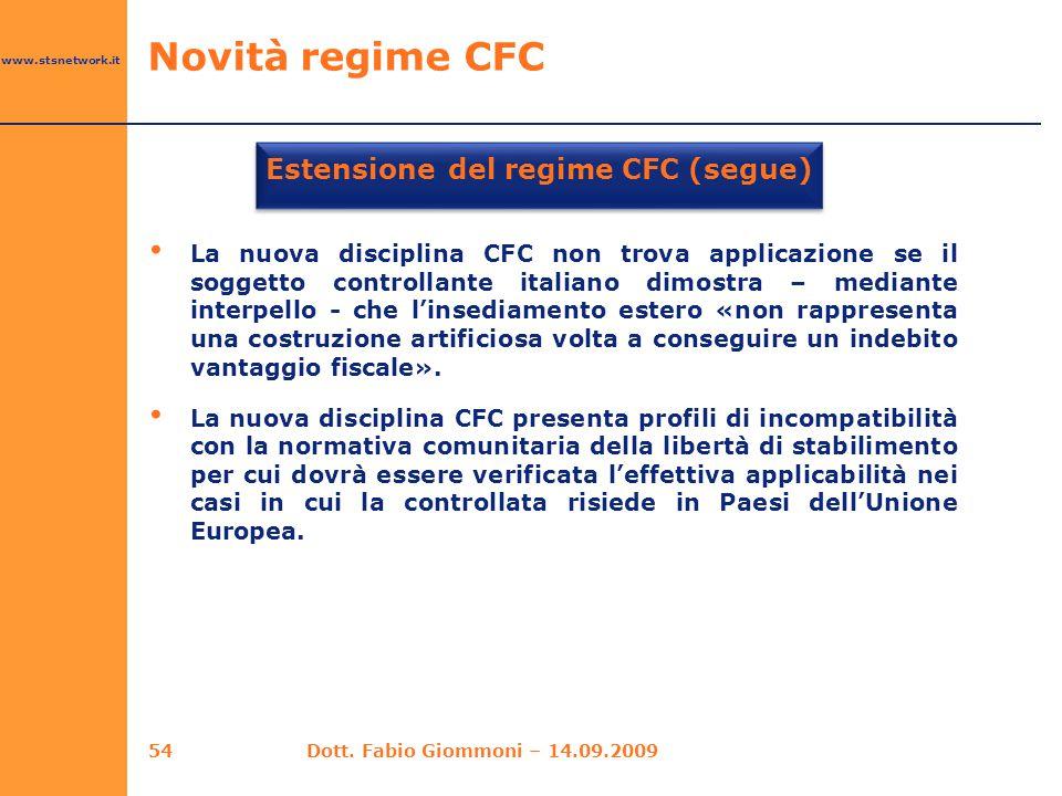 Estensione del regime CFC (segue)
