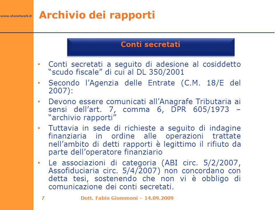 Conti secretati Archivio dei rapporti