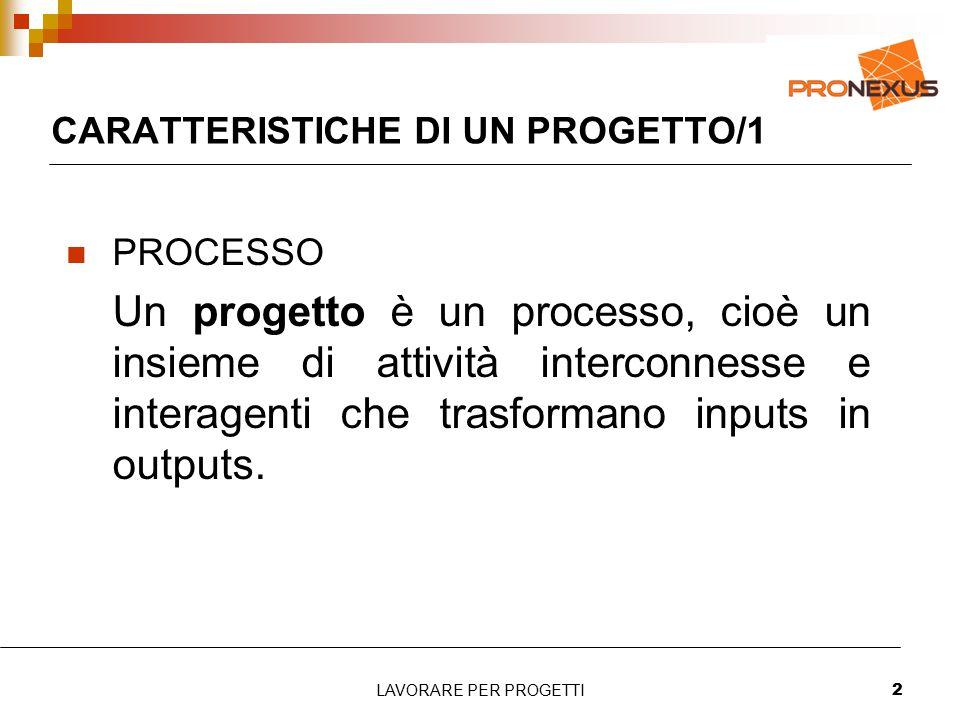 CARATTERISTICHE DI UN PROGETTO/1