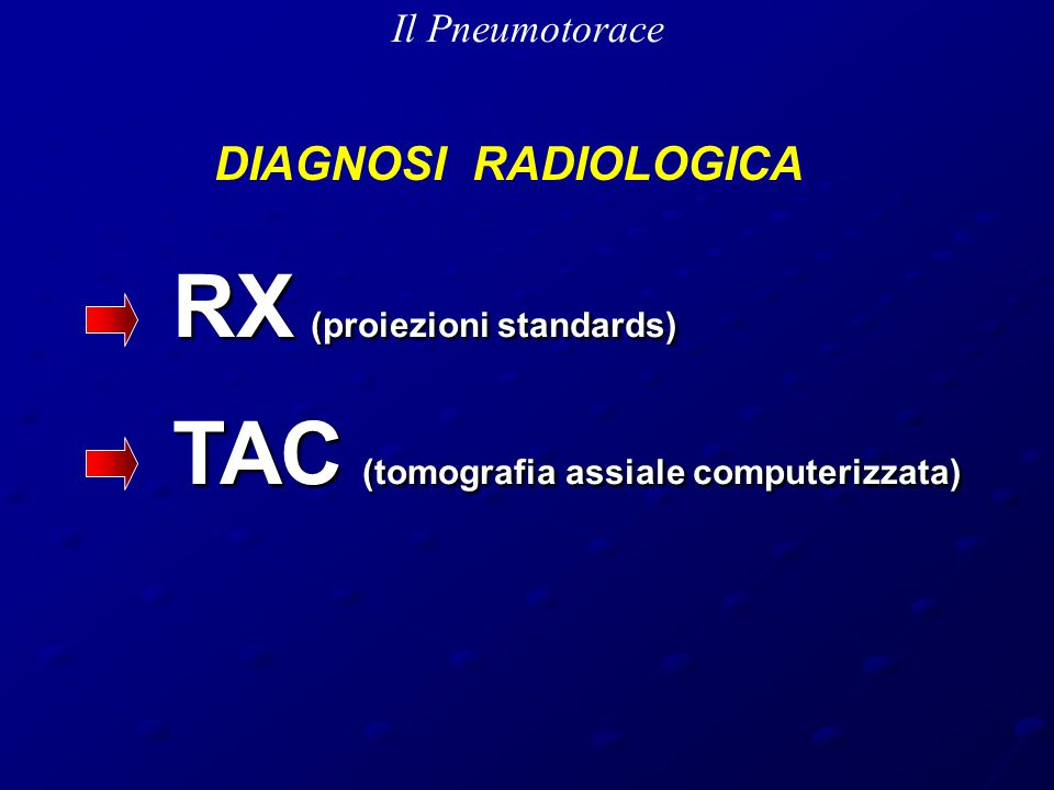 RX (proiezioni standards) TAC (tomografia assiale computerizzata)