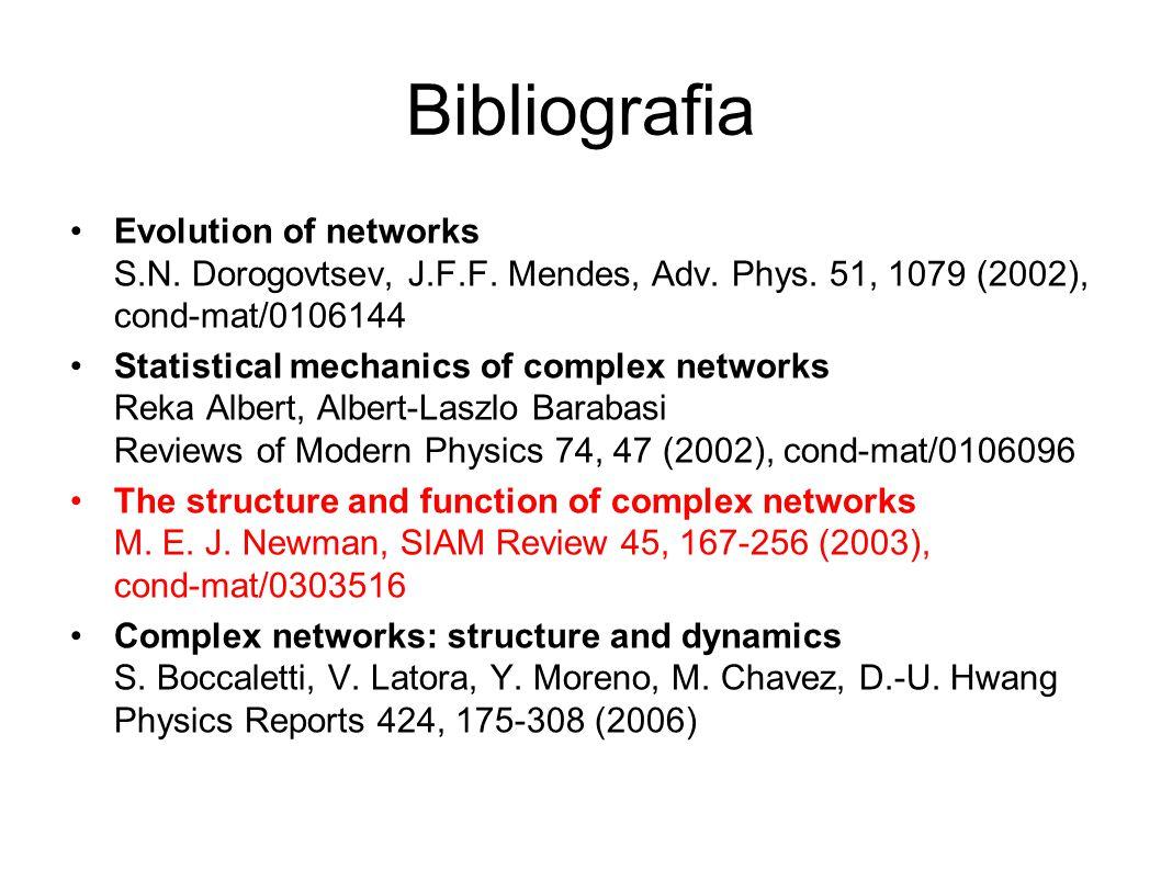Bibliografia Evolution of networks S.N. Dorogovtsev, J.F.F. Mendes, Adv. Phys. 51, 1079 (2002), cond-mat/0106144.