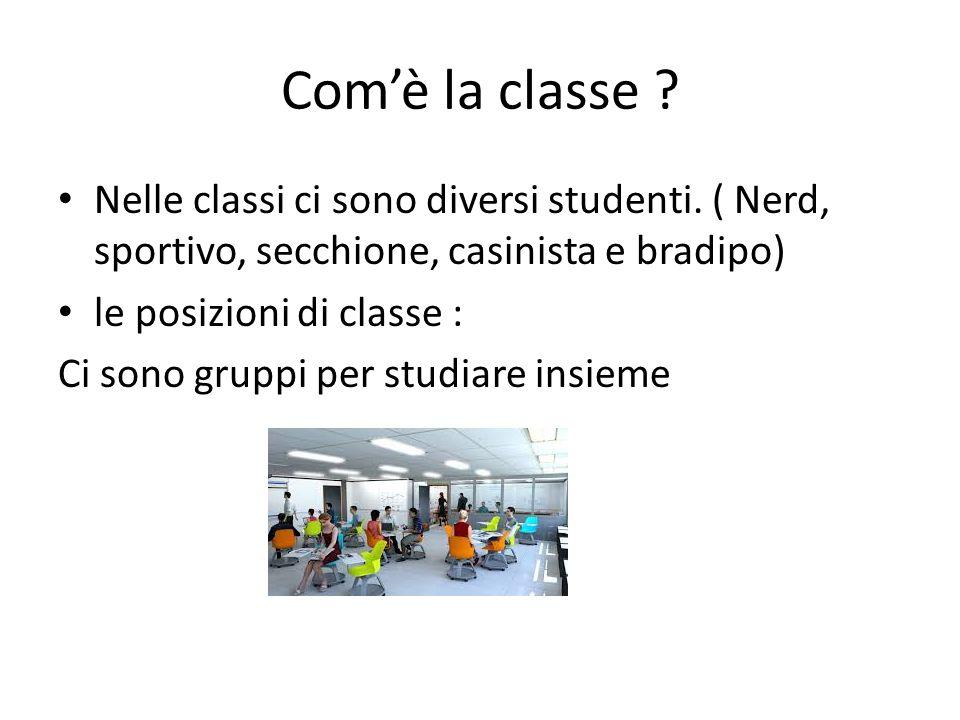 Com'è la classe Nelle classi ci sono diversi studenti. ( Nerd, sportivo, secchione, casinista e bradipo)