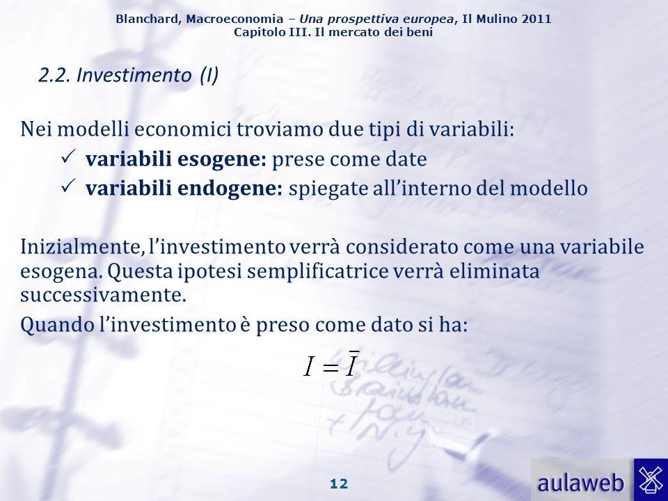 2.2. Investimento (I) Nei modelli economici troviamo due tipi di variabili: variabili esogene: prese come date.