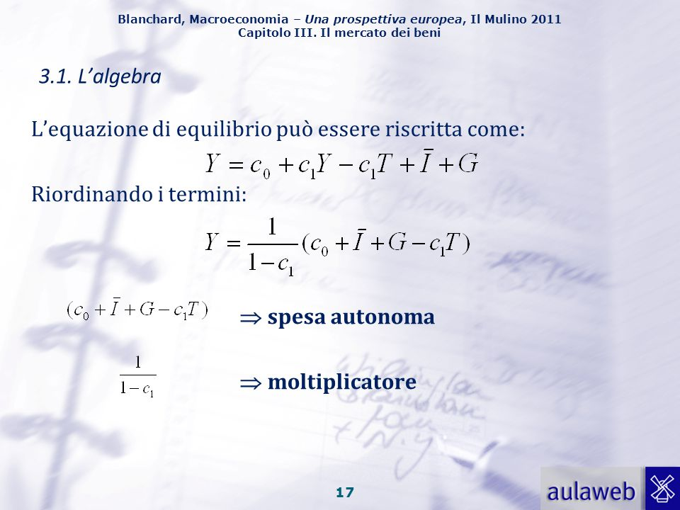 3.1. L'algebra L'equazione di equilibrio può essere riscritta come: Riordinando i termini:  spesa autonoma.
