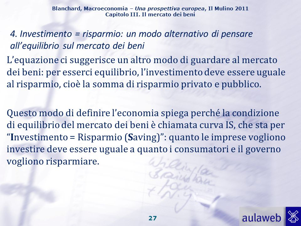 4. Investimento = risparmio: un modo alternativo di pensare all'equilibrio sul mercato dei beni